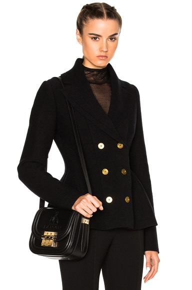 Alexander McQueen Knit Double Breasted Jacket in Black