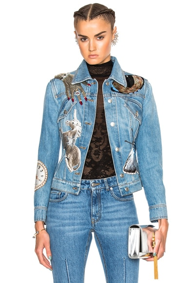 Alexander McQueen Bombe Denim Jacket in Indigo