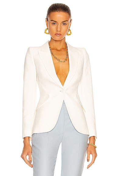 Alexander McQueen One Button Classic Blazer in Ivory