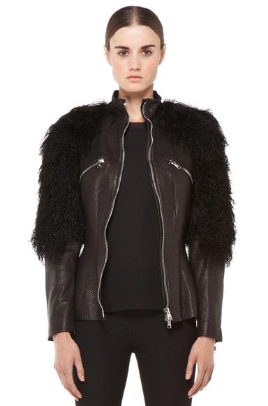 Fur Sleeves Biker Jacket