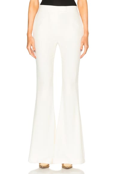 Alexander McQueen Flared Pants in Silk White
