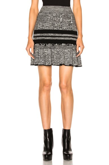Alexander McQueen Peplum Mini Skirt in Black & Ivory