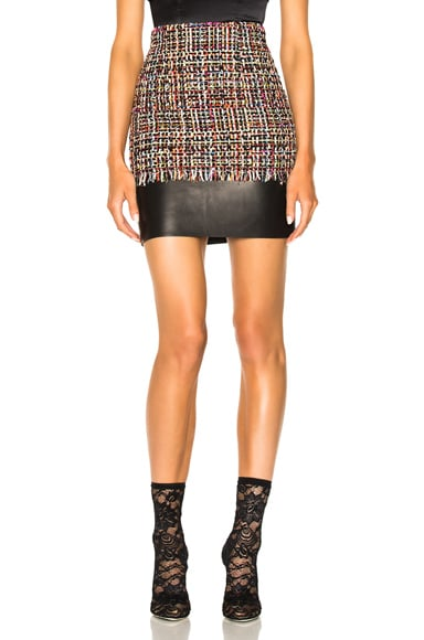 Leather Trim Tweed Mini Skirt