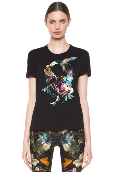 Embroidered Floral Bird Tee
