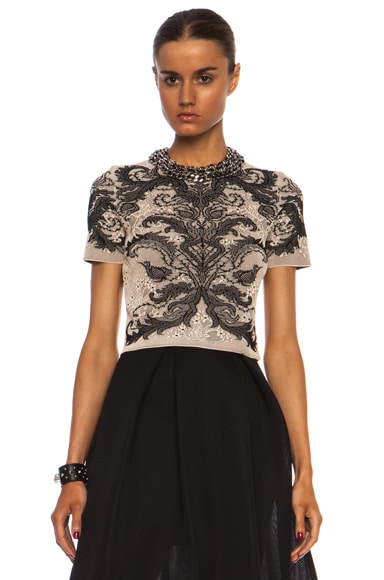 Alexander McQueen Baroque Spine Lace Crop Top in Powder & Black