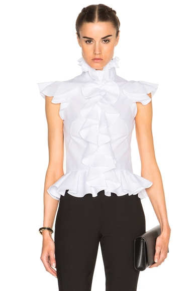 Alexander McQueen Ruffle Peplum Shirt in White