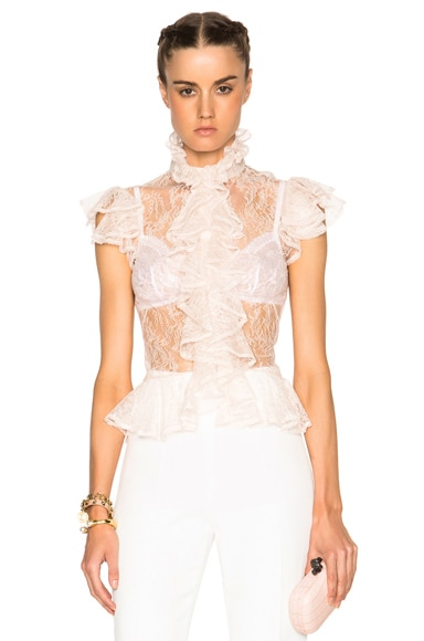 Alexander McQueen Ruffle Blouse in Powder