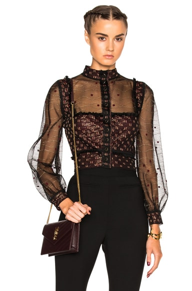 Alexander McQueen Cardigan Top in Black, Russet & Gold