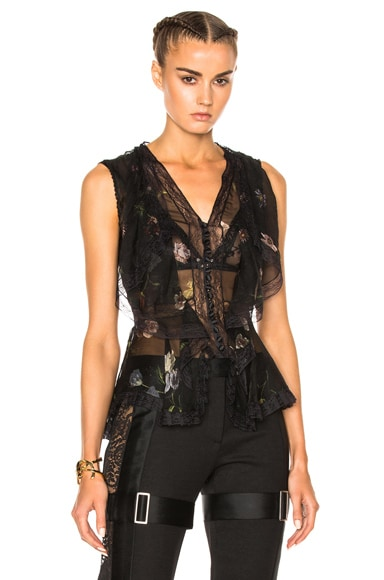 Alexander McQueen Sleeveless Top in Black Mix