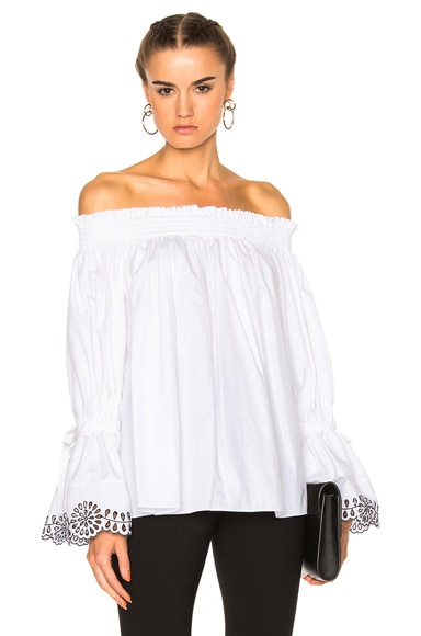 Alexander McQueen Embroidered Top in Black & White