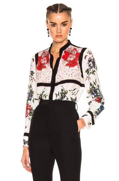 Alexander McQueen Printed Blouse in Ivory