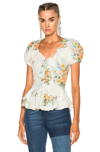Alexander McQueen Printed Ruffle Blouse in Ivory