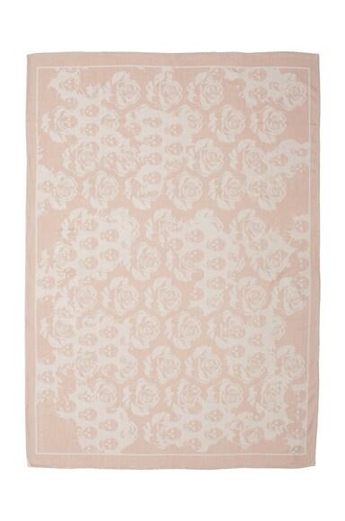Alexander McQueen Skull & Rose Blanket Scarf in Beige & Ivory