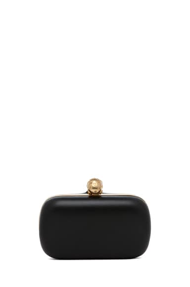 Classic Leather Skull Box Clutch