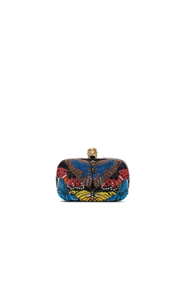 Alexander McQueen Butterfly Skull Clutch with Chain in Black & Multi