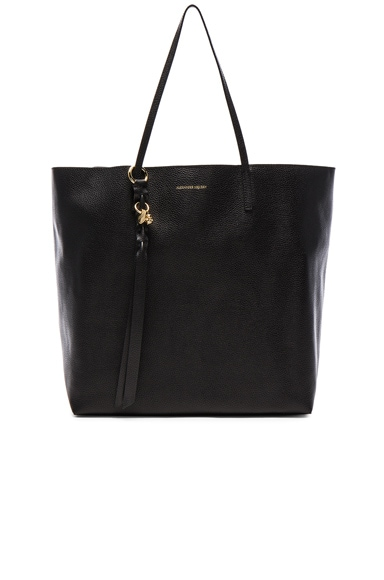 Alexander McQueen Skull Open Shopper in Black