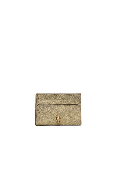Alexander McQueen Skull Card Holder in Antique Gold