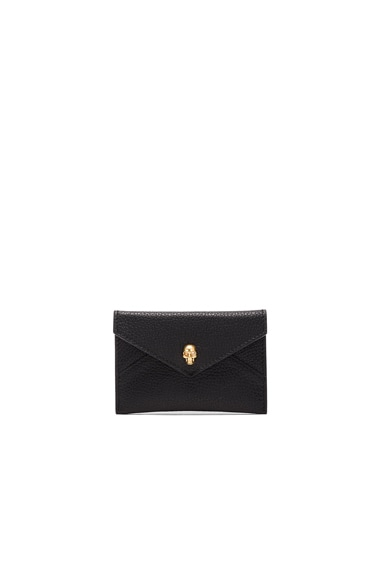 Alexander McQueen Skull Envelope Card Holder in Black