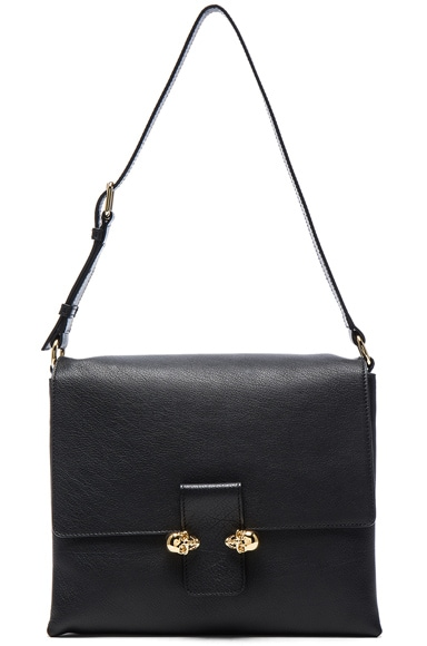 Alexander McQueen Twin Skull Leather Bag in Black