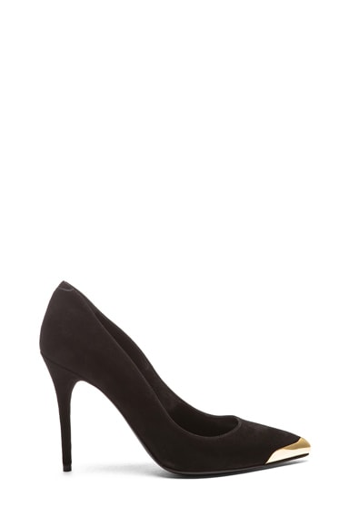 Pointy Suede Toe-Cap Pumps