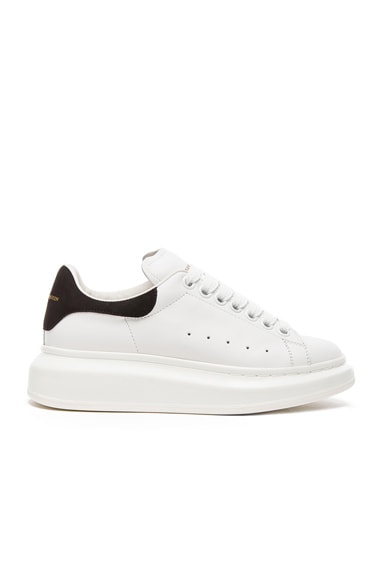 Alexander McQueen Platform Lace Up Leather Sneakers in Black & White