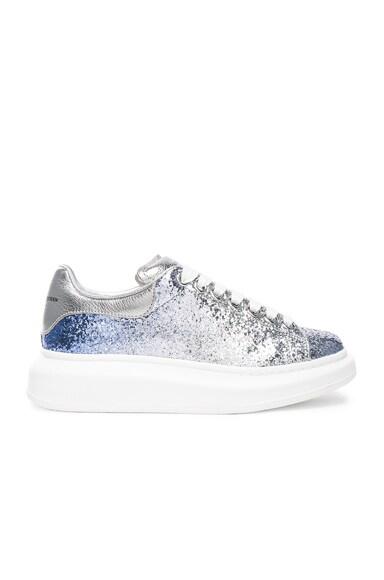 Alexander McQueen Glitter Platform Lace Up Sneakers in Blue & Silver
