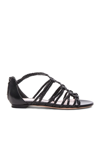 Alexander McQueen Braided Leather Sandals in Black