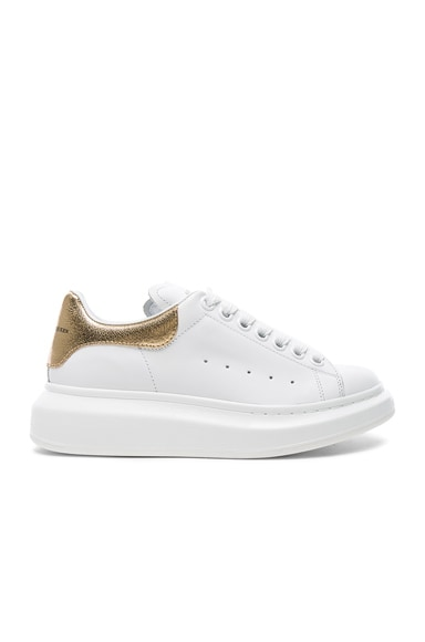 Alexander McQueen Leather Platform Lace Up Leather Sneakers in White & Gold