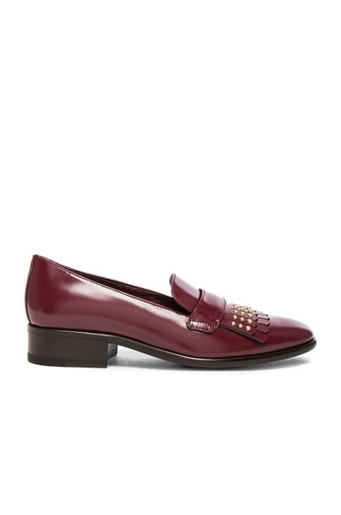 Alexander McQueen Stud Fringe Leather Loafers in Light Oxblood