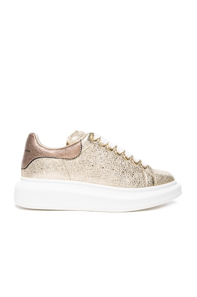 Alexander McQueen Leather Platform Sneakers in Gold & Boudoir