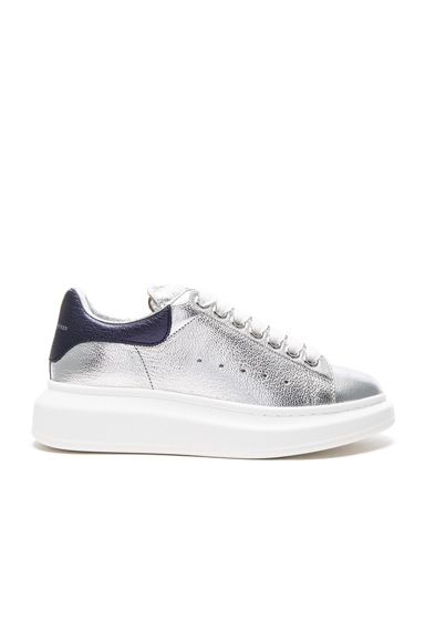Alexander McQueen Platform Leather Sneakers in Silver & Navy