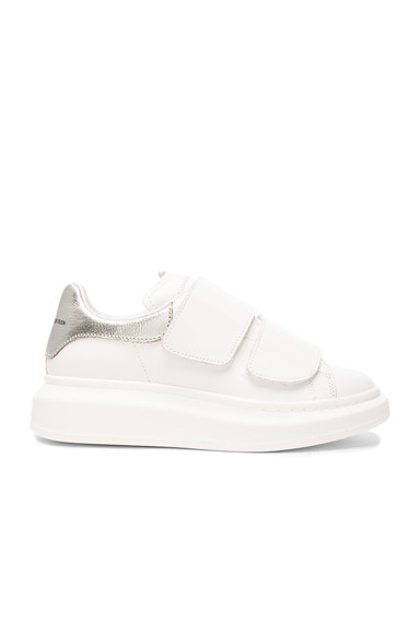 Alexander McQueen Leather Velcro Platform Sneakers in White & Silver