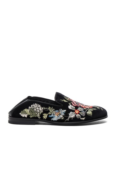 Alexander McQueen Embroidered Velvet Flats in Black