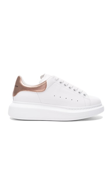 Alexander McQueen Leather Platform Sneakers in White & Rose Gold