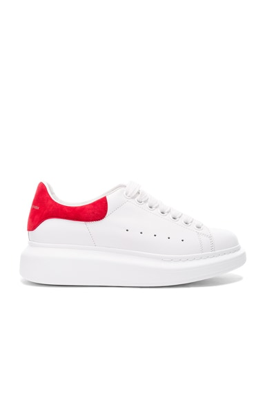 Alexander McQueen Leather Platform Sneakers in White & Crimson