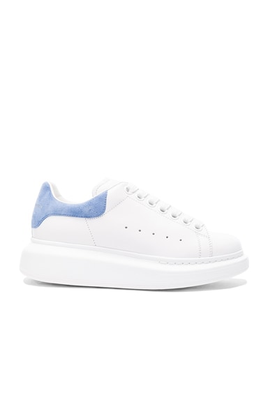 Alexander McQueen Leather Platform Sneakers in White & Cornflower