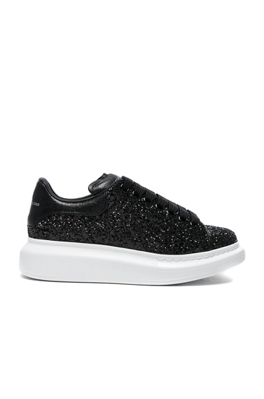 Alexander McQueen Platform Lace Up Sneakers in Black & Black