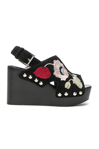 Alexander McQueen Suede Wedges in Black & Multi Cocktail