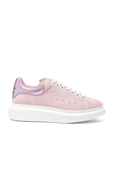 Alexander McQueen Suede Platform Lace Up Sneakers in Clover & Pale Pink