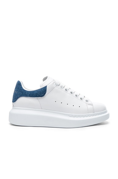 Alexander McQueen Leather Platform Lace Up Sneakers in White & Denim