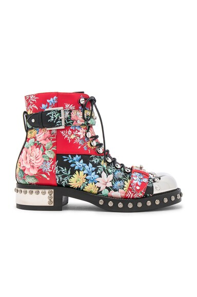 Alexander McQueen Studded Leather Combat Boots in Multi Cocktail