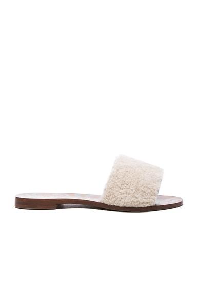 Avec Moderation Shearling Open Sandals in Cognac, Gold & Khaki