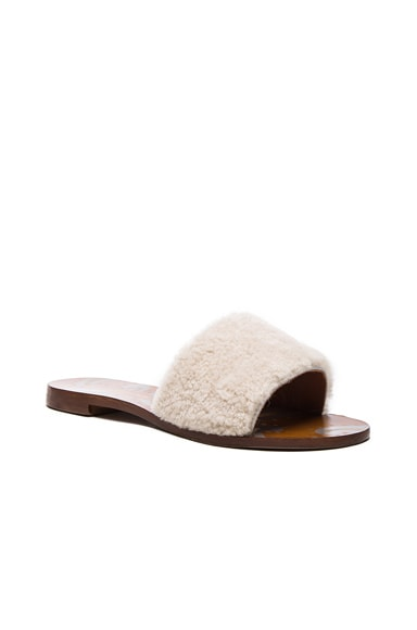 Shearling Open Sandals