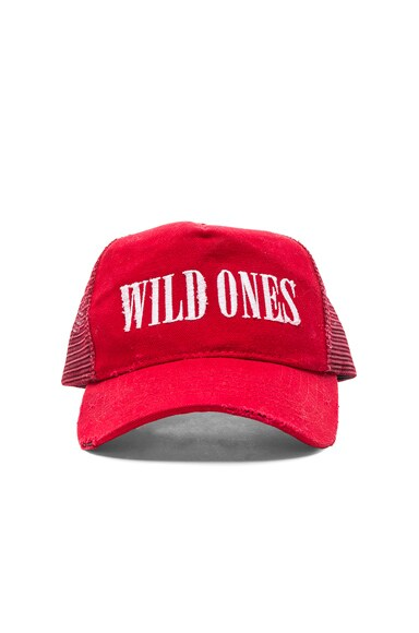 Amiri Wild Ones Trucker Hat in Red & White
