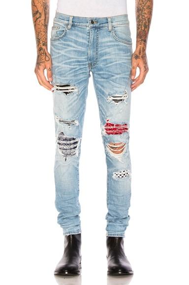 Amiri Art Patch Jeans in Rosebowl