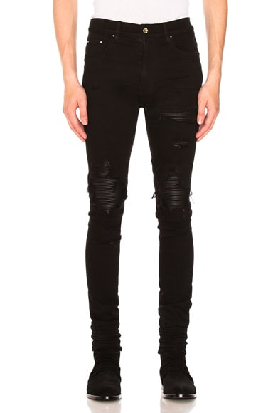 MX1 Leather Patch Skinny Jeans