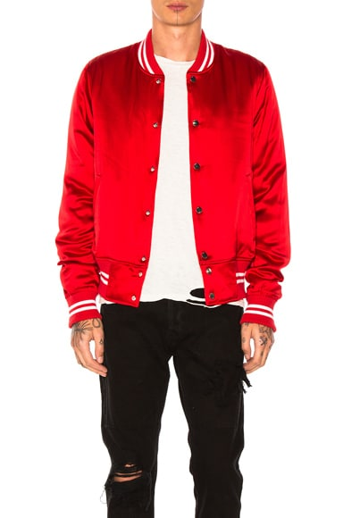 Amiri Silk Baseball Jacket in Red
