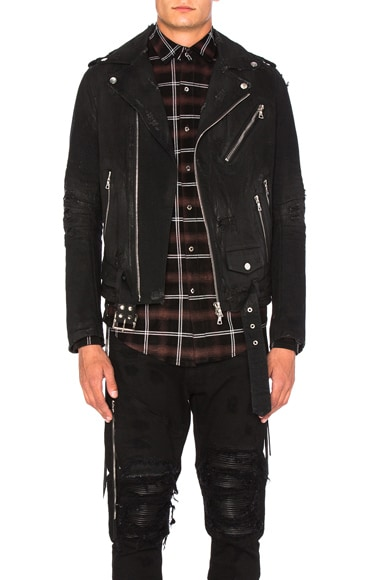 Amiri Destroyed Denim Jacket in Black