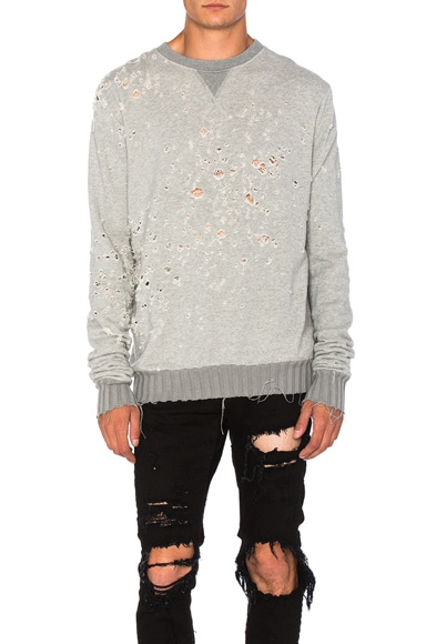 Amiri Shot Gun Crew Sweatshirt in Grey
