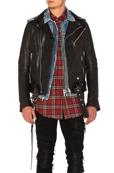 Amiri Vitellino Leather Jacket in Black